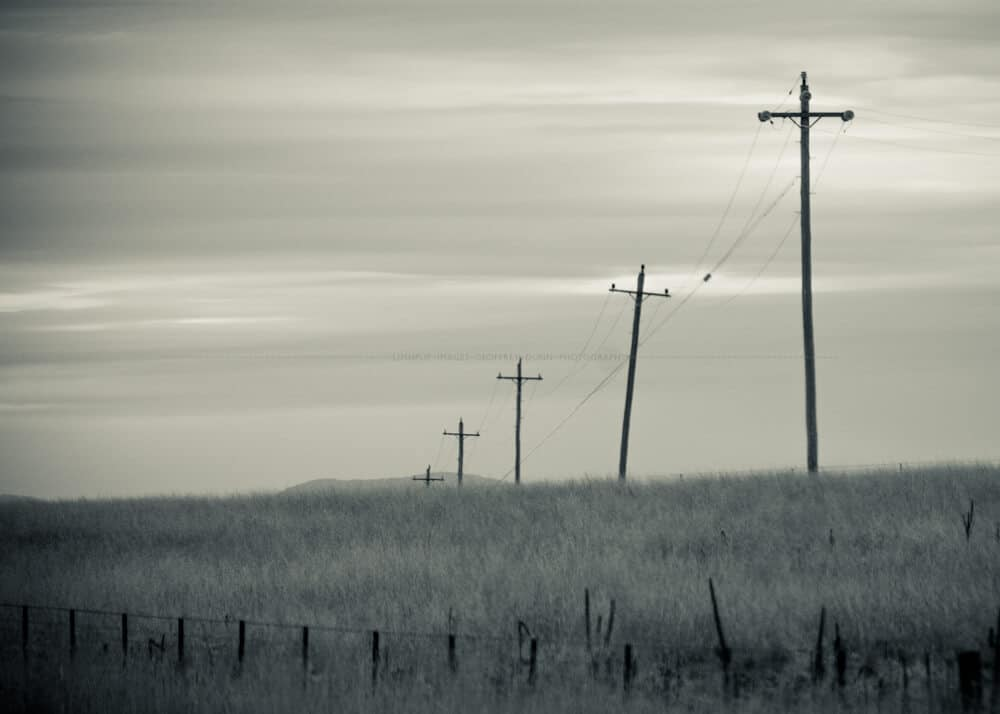 Telegraph poles resemble crosses as they disappear over a hil