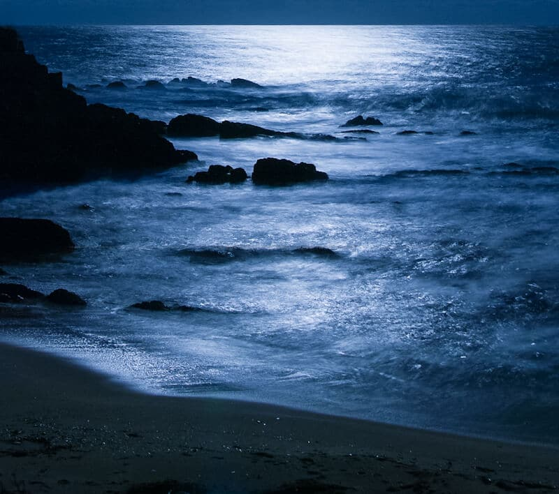 moonlight on blue water