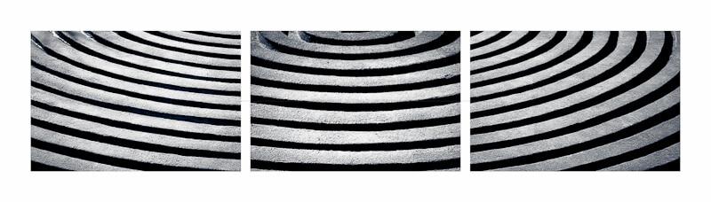 triptych of ripple patterns in monochrome