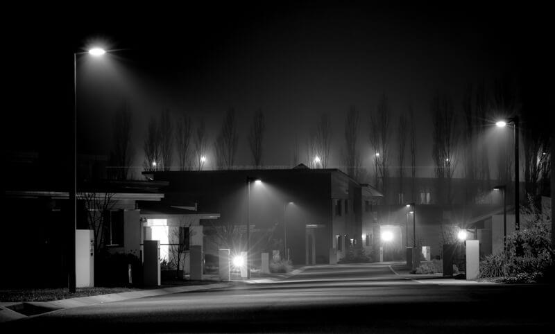 Light fog in new development.