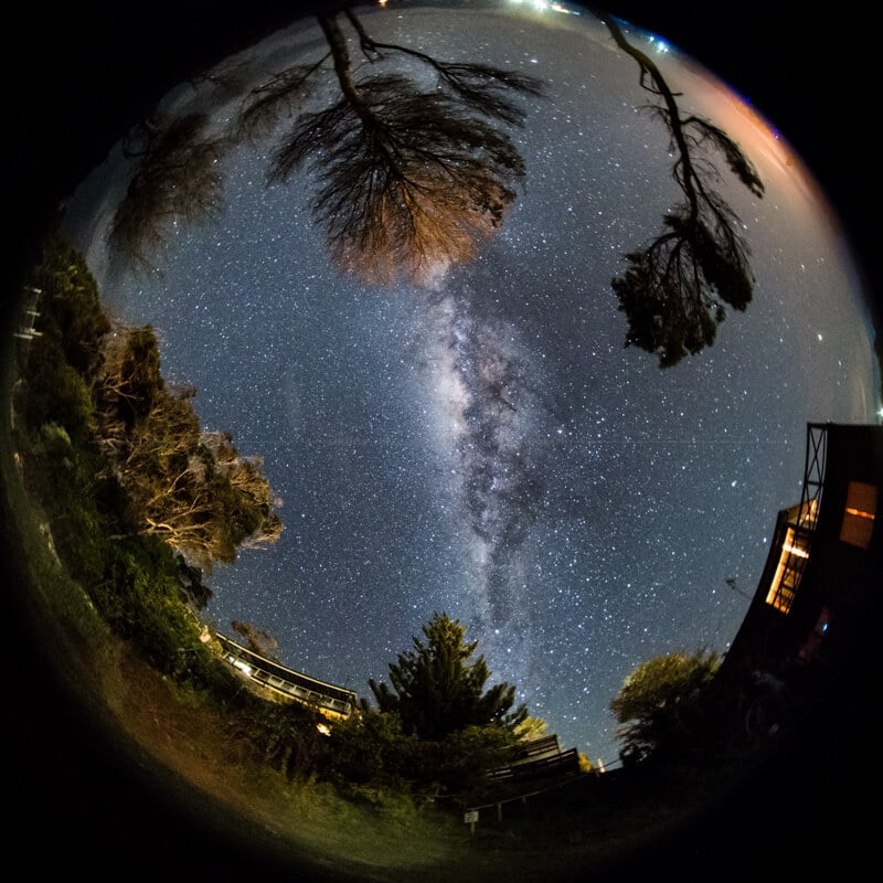 Fisheye capture of the spiral arm looking straight up